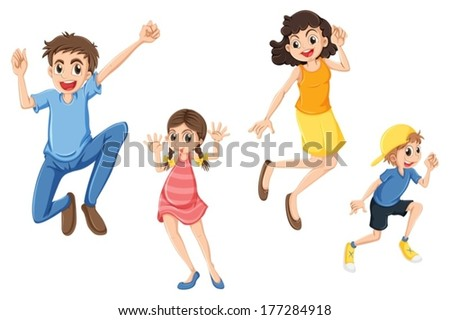 Illustration of a happy family jumping on a white background - stock vector