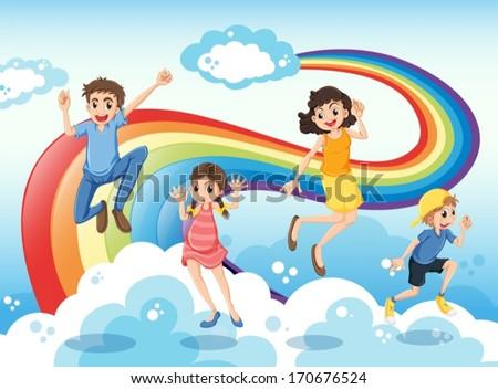 Illustration of a happy family near the rainbow - stock vector