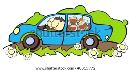 illustration of a happy family traveling by car - stock vector