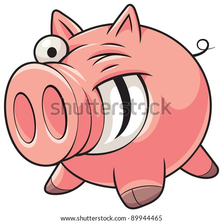 Illustration of a happy fat pink pig with a big smile showing teeth - stock vector