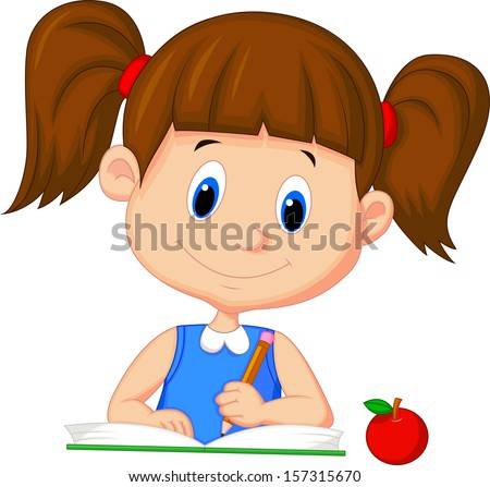 Illustration of a happy girl writing on a book - stock vector