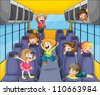 illustration of a happy kids in the bus - stock photo