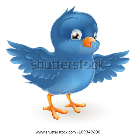 Illustration of a happy little bluebird with wings outstretched - stock vector