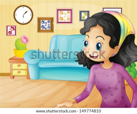 Illustration of a happy mother in the living room - stock vector