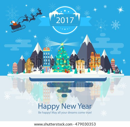 Illustration of a Happy New Year and Merry Christmas. For the website, calendar, ads, banners. Winter landscape. Nature, buildings, city. Santa Claus on a sleigh food. 2017 Image. Illustration. Vector