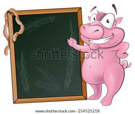 Illustration of a happy Pig standing next to Blank Chalkboard ready to sell some delicious Pork based products. - stock vector