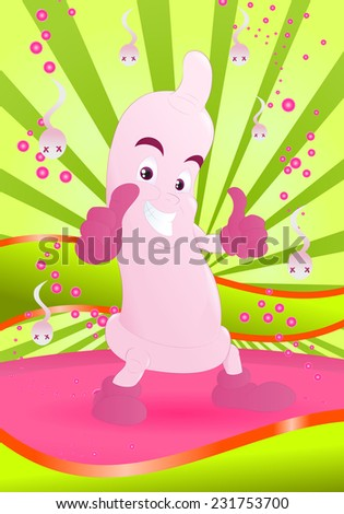 Illustration of a happy pink condom smiling with thumb up knock out all sperm - stock vector