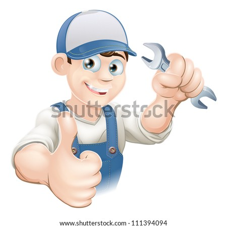 Illustration of a happy plumber, mechanic or handyman in work clothes holding a spanner and giving thumbs up - stock vector