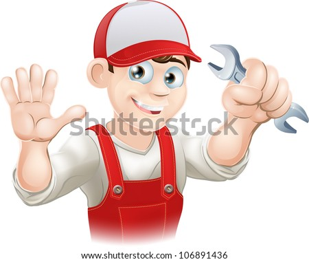 Illustration of a happy plumber or mechanic in his work clothes with wrench