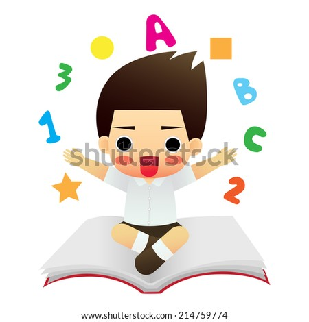 Illustration of a Happy School Boy - stock vector