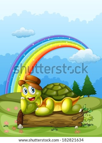 Illustration of a happy turtle above the log and the rainbow in the sky - stock vector