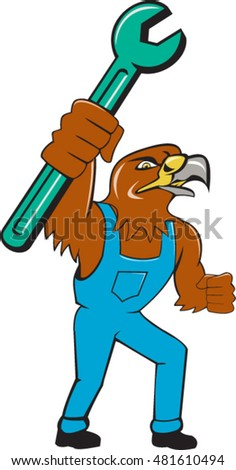 Illustration of a hawk mechanic standing raising up pipe spanner set on isolated white background done in cartoon style.