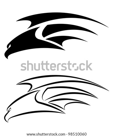 illustration of a hawk set - stock vector