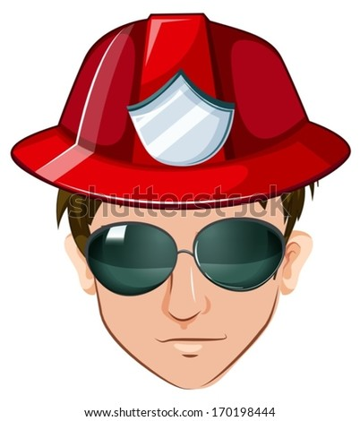 Illustration of a head of a fire marshall on a white background - stock vector