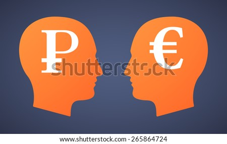 Illustration of a head set with a ruble and an euro - stock vector