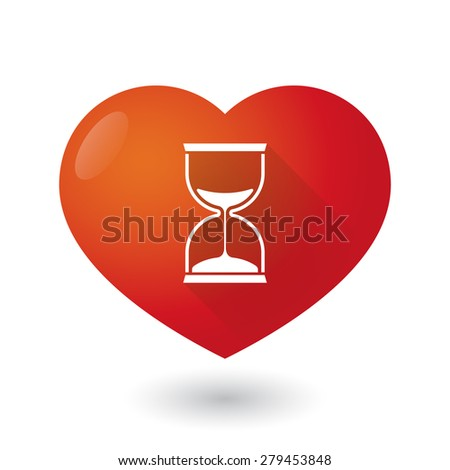 Illustration of a heart icon with a sand clock - stock vector