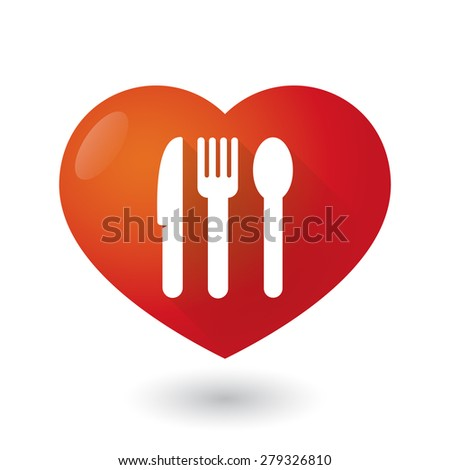 Illustration of a heart icon with cutlery - stock vector