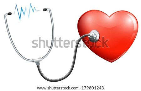 Illustration of a heart rate on a white background