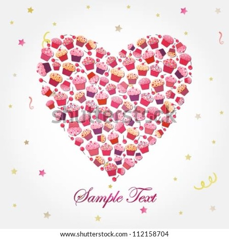 Illustration of a heart shape made of various pink cupcakes - stock vector