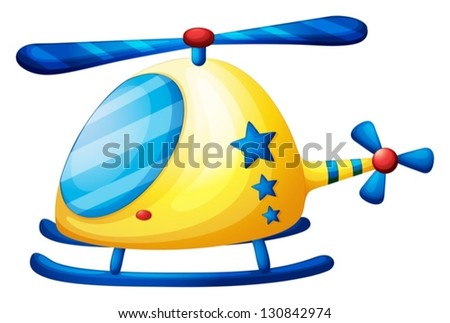 Illustration of a helicopter toy on a white background - stock vector