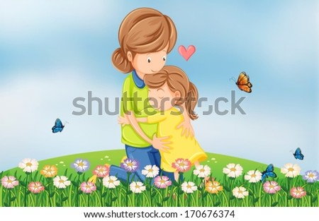 Illustration of a hilltop with a mother comforting her child - stock vector