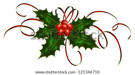 Illustration of a holly berries and tinsel isolated on a white background. - stock vector