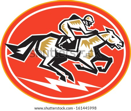 Illustration of a horse and jockey racing viewed from side set inside oval on isolated white background done in retro style. - stock vector