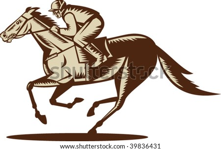 illustration of a horse and jockey racing viewed from the side isolated on white background - stock vector