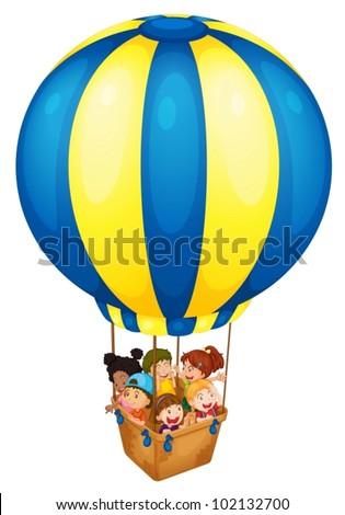 Illustration of a hot air balloon - stock vector