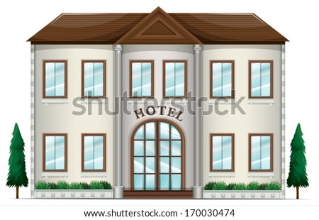 Illustration of a hotel on a white background - stock vector
