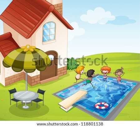 illustration of a house and kids in a beautiful nature