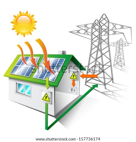 illustration of a house equipped for sale and use solar energy, isolated - stock vector