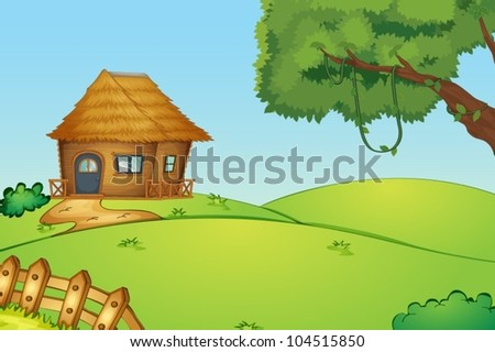 Illustration of a house on a hill - stock vector