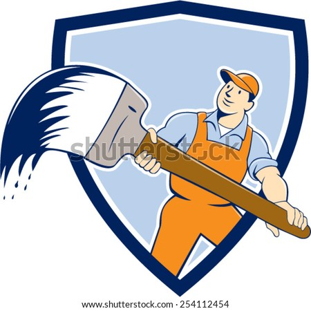 illustration of a house painter handyworker holding giant paintbrush viewed from front set inside shield crest on isolated background done in cartoon style. - stock vector