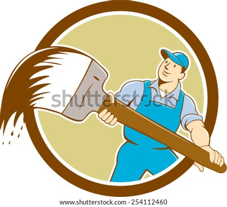 illustration of a house painter nadyworker holding giant paintbrush brush viewed from front set inside circle on isolated background done in cartoon style. - stock vector