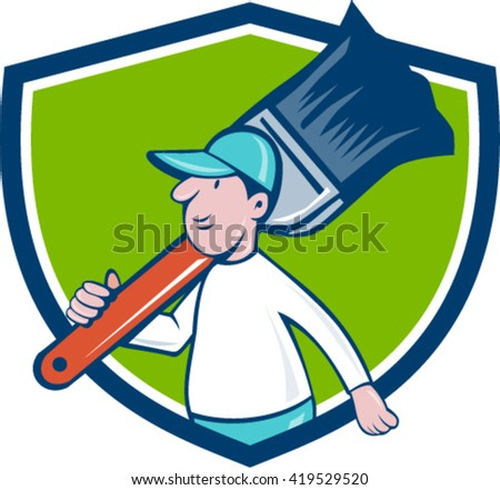Illustration of a house painter walking carrying giant paintbrush on shoulder viewed from the side set inside shield crest on isolated background done in cartoon style.  - stock vector