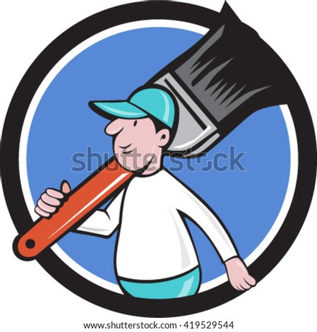 Illustration of a house painter walking carrying giant paintbrush on shoulder viewed from the side set inside circle on isolated background done in cartoon style.  - stock vector