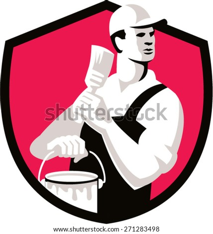 Illustration of a house painter with hat holding paintbrush and can of paint looking to the side set inside shield crest on isolated background done in retro style.  - stock vector