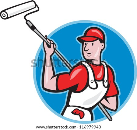 illustration of a house painter with paint roller painting isolated on white done in cartoon style.