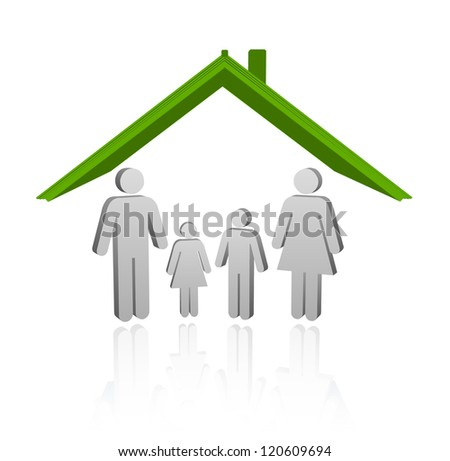 Illustration of a house with family. safe home child protection - stock vector
