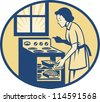 Illustration of a housewife baker baking pastry roasting meat in oven stove done in retro style set inside oval. - stock vector