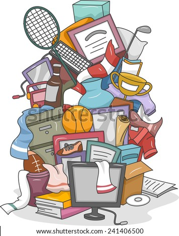 Illustration of a Huge Pile of Random Items Carelessly Thrown Together - stock vector