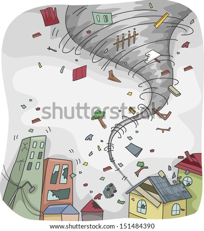 Illustration of a Huge Tornado Destroying the Houses and Buildings on its Path