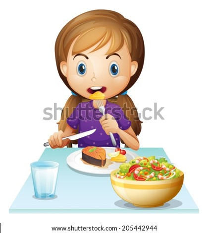 Illustration of a hungry girl eating lunch on a white background - stock vector