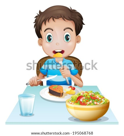 Illustration of a hungry young man on a white background - stock vector