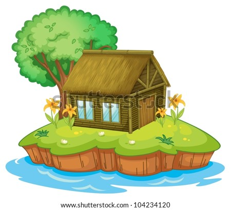 Illustration of a hut on an island - stock vector