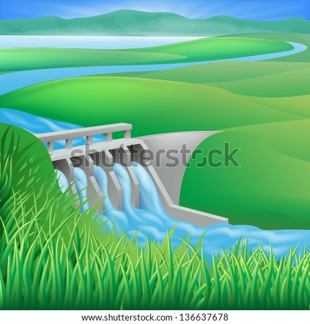Illustration of a hydroelectric dam generating power and electricity - stock vector