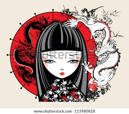 illustration of a Japanese girl - stock vector