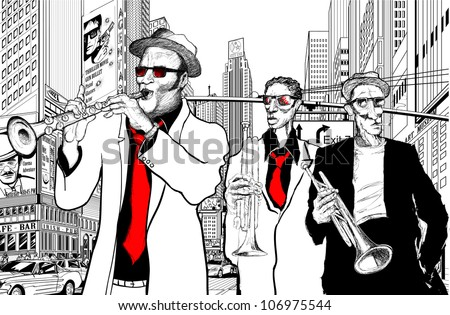 Illustration of a jazz band in a street of new-York with trumpet - stock vector