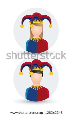 Illustration of a joker, April Fools Day, jester illustration,  vector illustration - stock vector